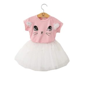 Meow Tshirt with Appliqued Butterfly Tulle Skirt