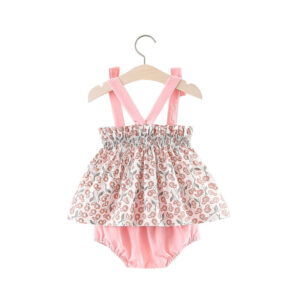 Floral Printed Strap Dress with Briefs